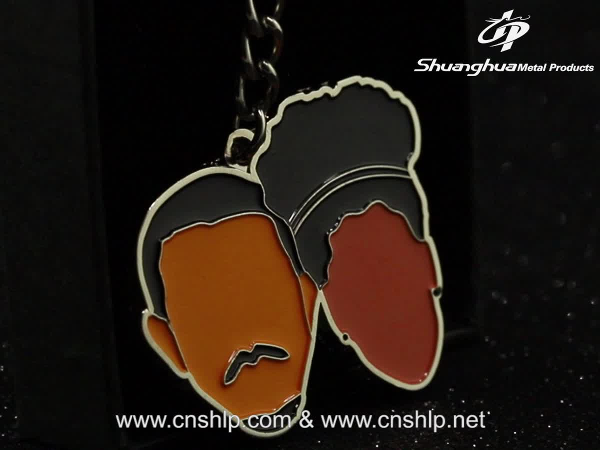 Shuanghua factory custom enamel cartoon metal keychain