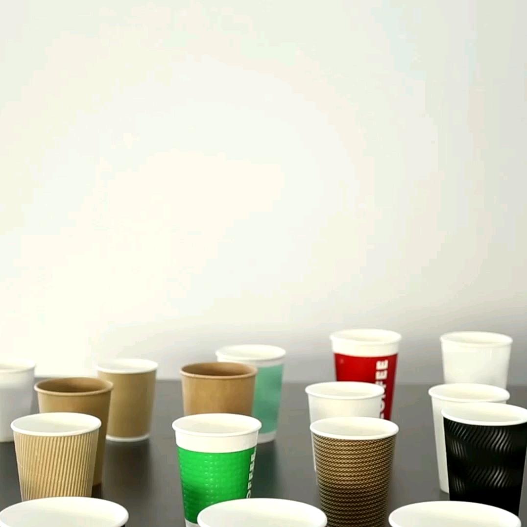 Copos de café do papel da onda da parede dupla descartável impressa personalizada com tampa