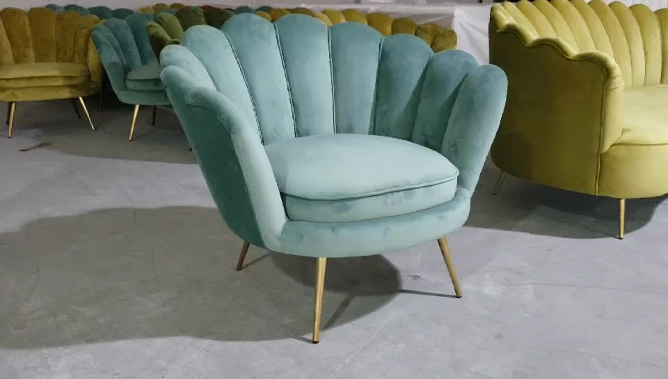 MODERN LIVING ROOM LUXURY TURQUOISE SHELL SHAPED VELVET OCCASIONAL ARMCHAIRS