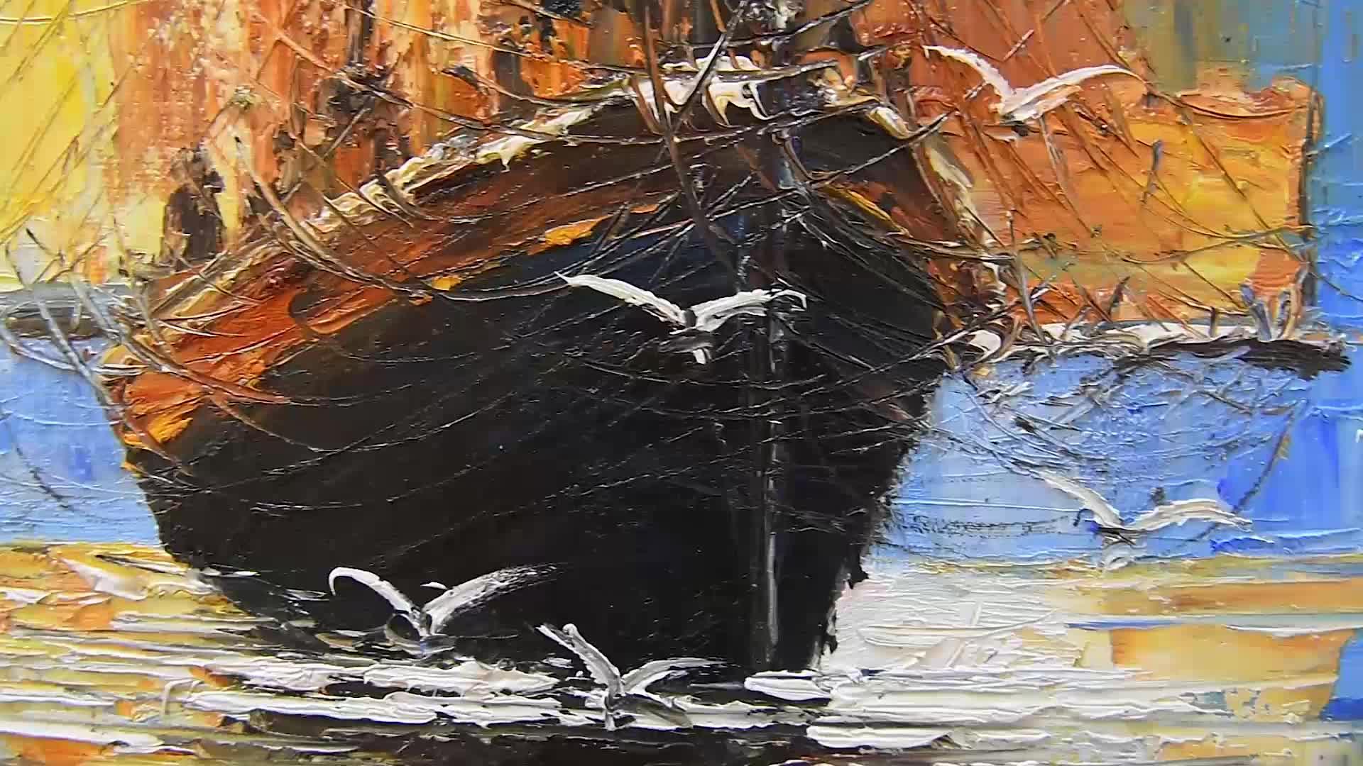 handmade paintings canvas ocean sailing boat modern oil painting