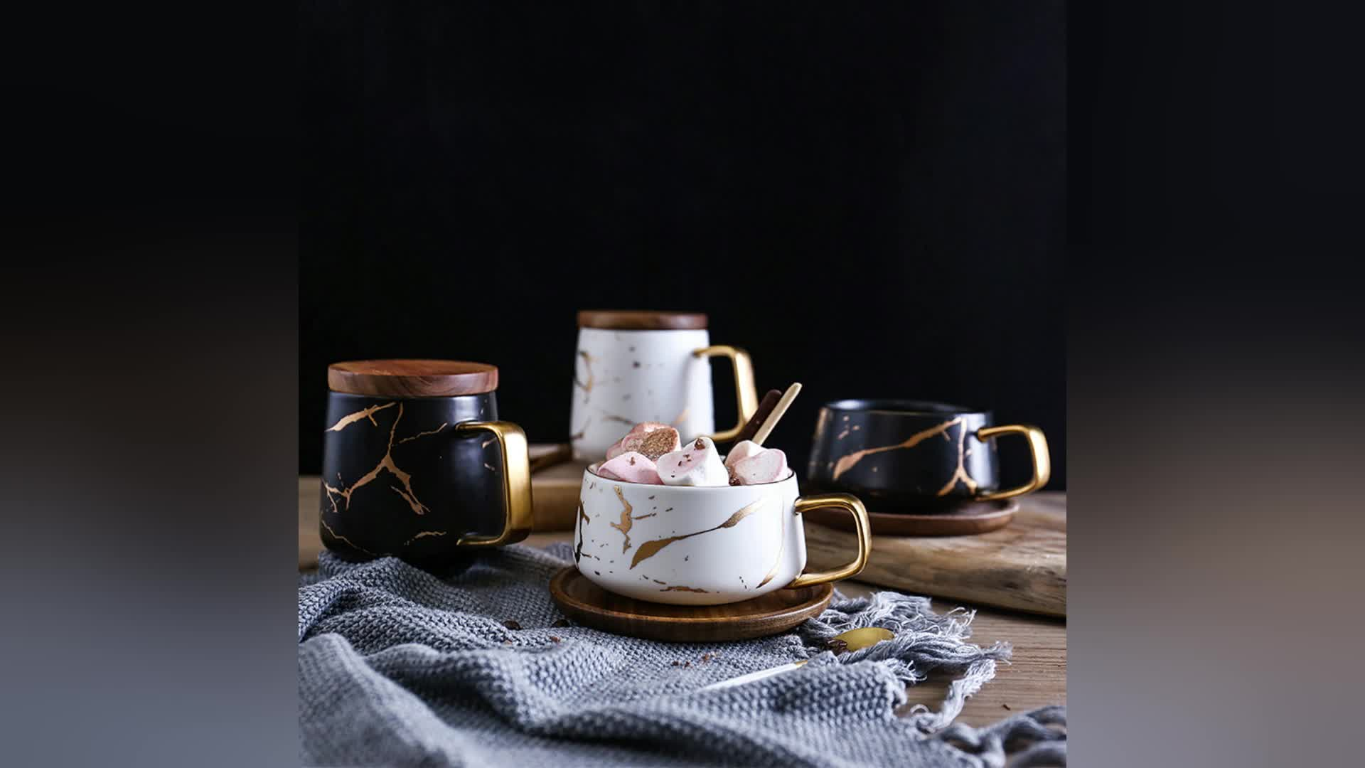 Hot Sell Black And White Porcelain Coffee Cup  Mug With Golden Marble Design And Wood Lid Or Wood Coaster