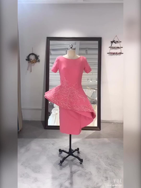 OEV-L4336 PLUS ขนาดชุดสำหรับแม่งานแต่งงาน Sherwani เข่าความยาวสีชมพูชุดเจ้าสาว