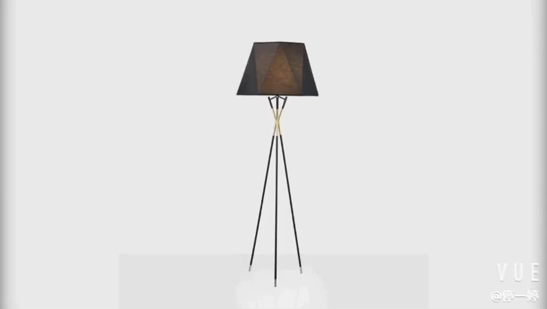 Office living room modern standing floor lamps black iron geometric fabric shade decorative brass tripod floor lamp