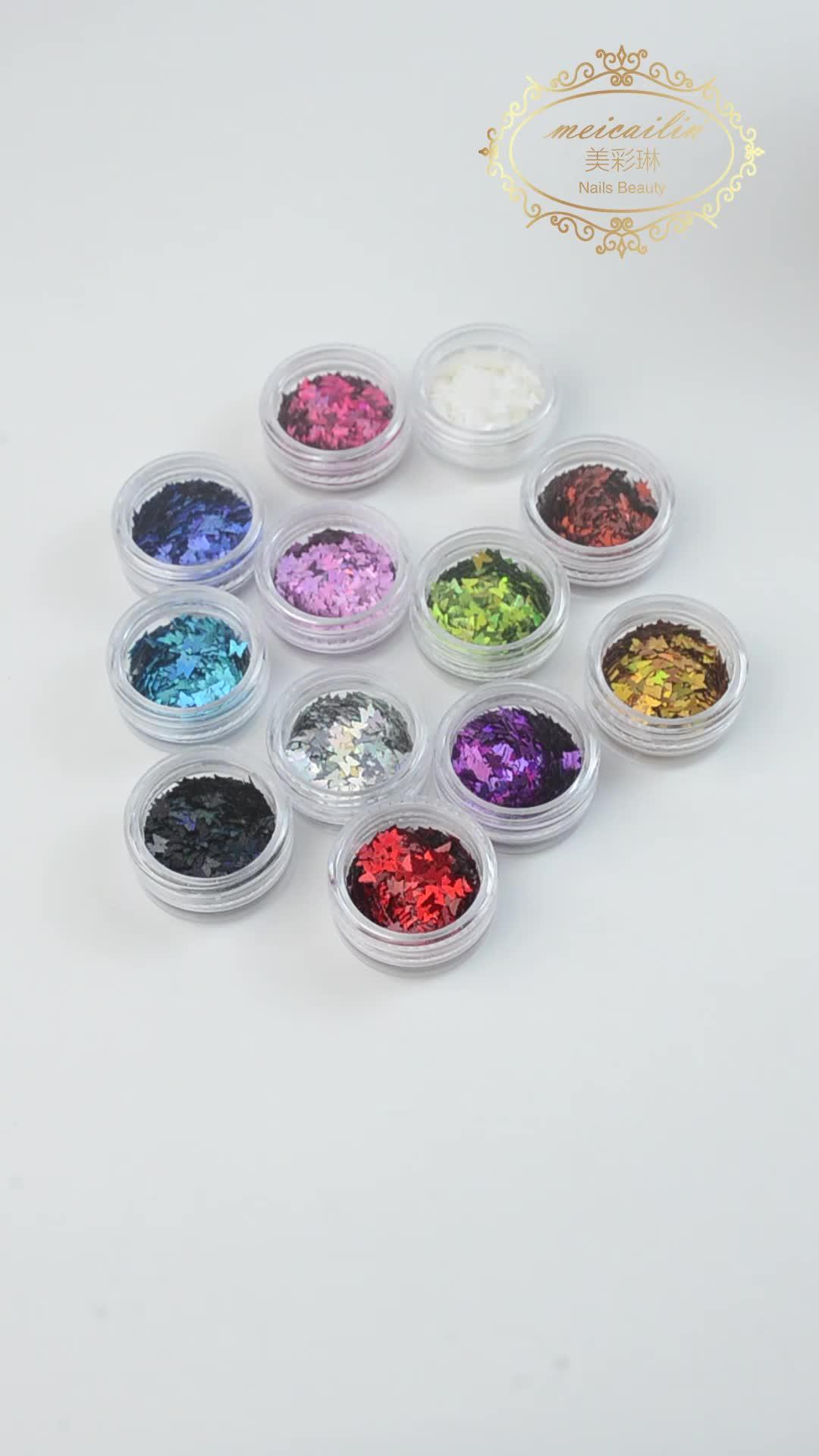 Paillette de brillo para uñas con láser brillante holográfico AB en forma de mariposa de colores mezclados