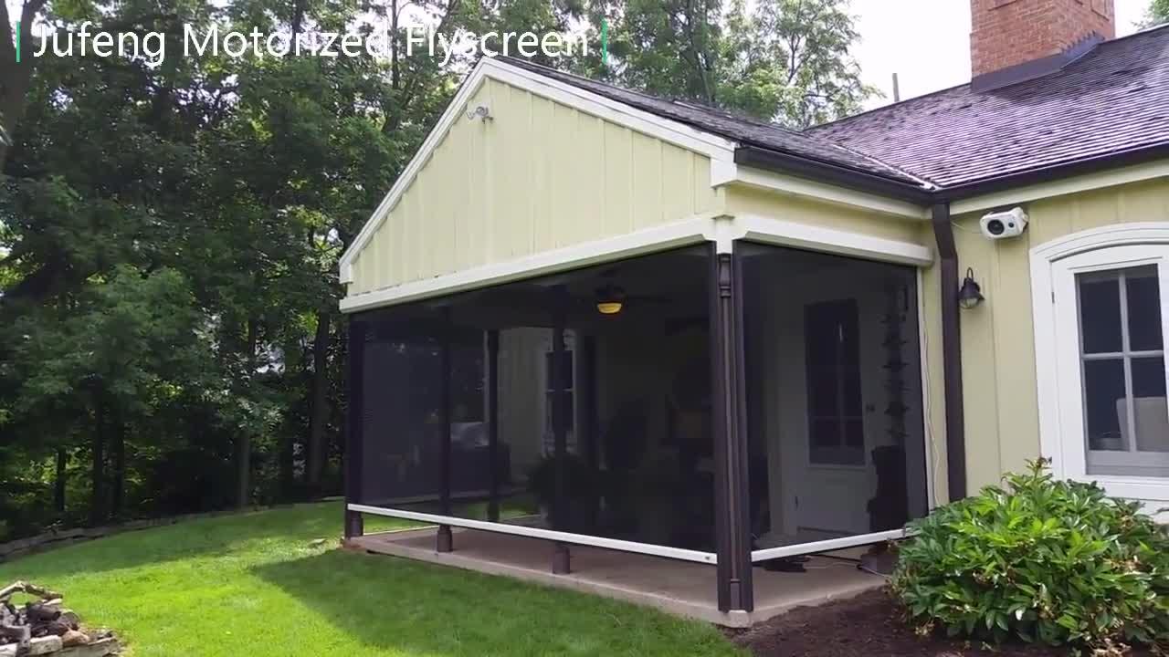 New Design Retractable Motorized Roll Down Porch Mosquito