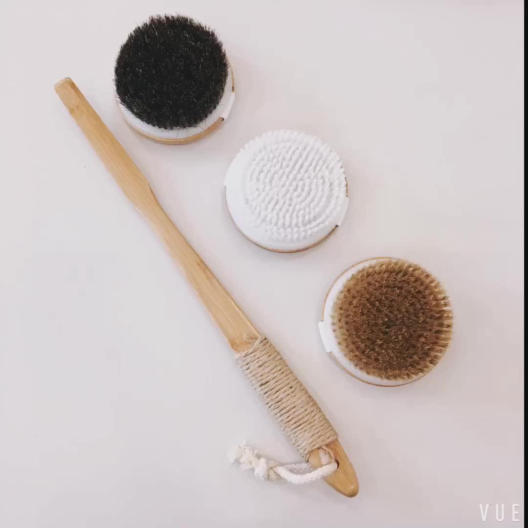 Bamboe Bad Massage Borstel Set met Lange Handvat Massage Voor Terug Scrubber + Droge Huid Body Brush-Premium Natuurlijke haren