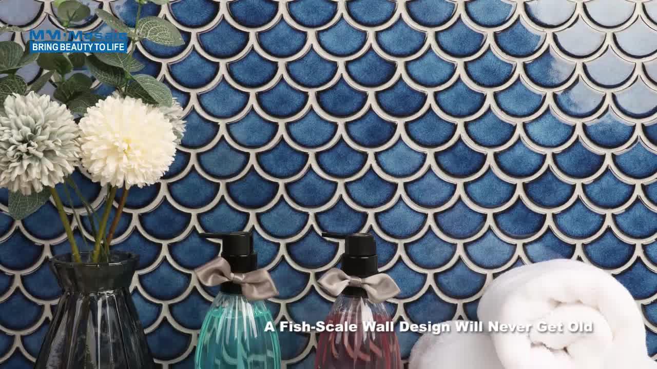 Perfect kitchen backsplash wall decor foshan crystal glazed porcelain glossy blue fish mosaic scale tile