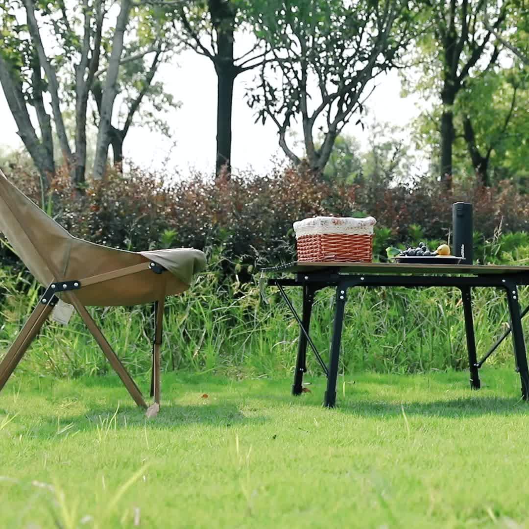 Naturehike MW01 al aire libre textura de madera para muebles de aluminio silla plegable con forma de luna