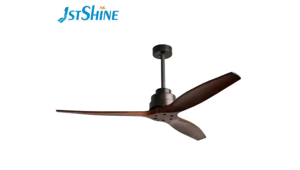 1stshine 52 inch 220 volte 3 natural solid wood blades inverter energy saving silent remote control ceiling fan