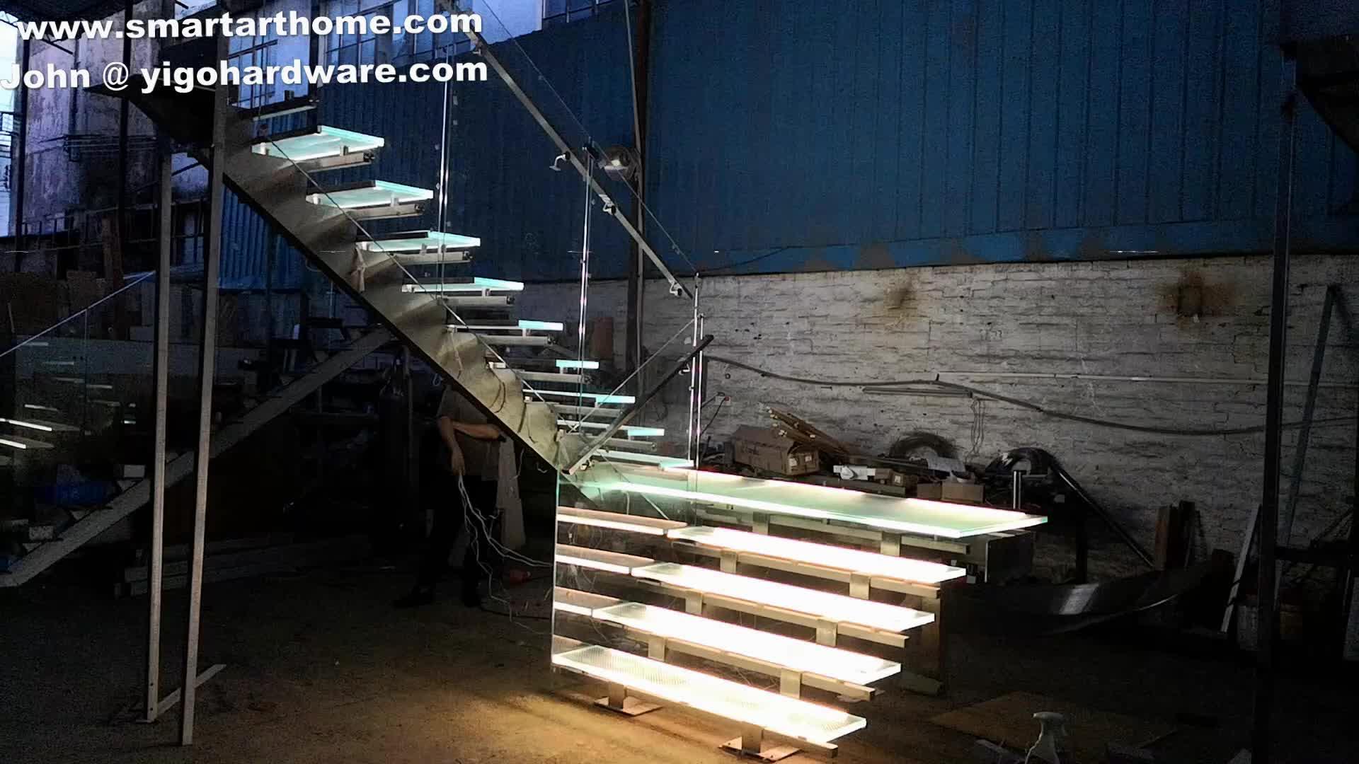 Modern cam merdiven/Ark paslanmaz çelik cam merdiven ev için