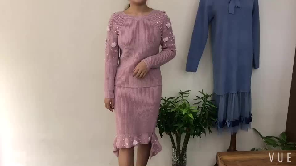 lurex round neck beading peal decoration jumpers woman sweater with cut hem irregular skirt suit sets