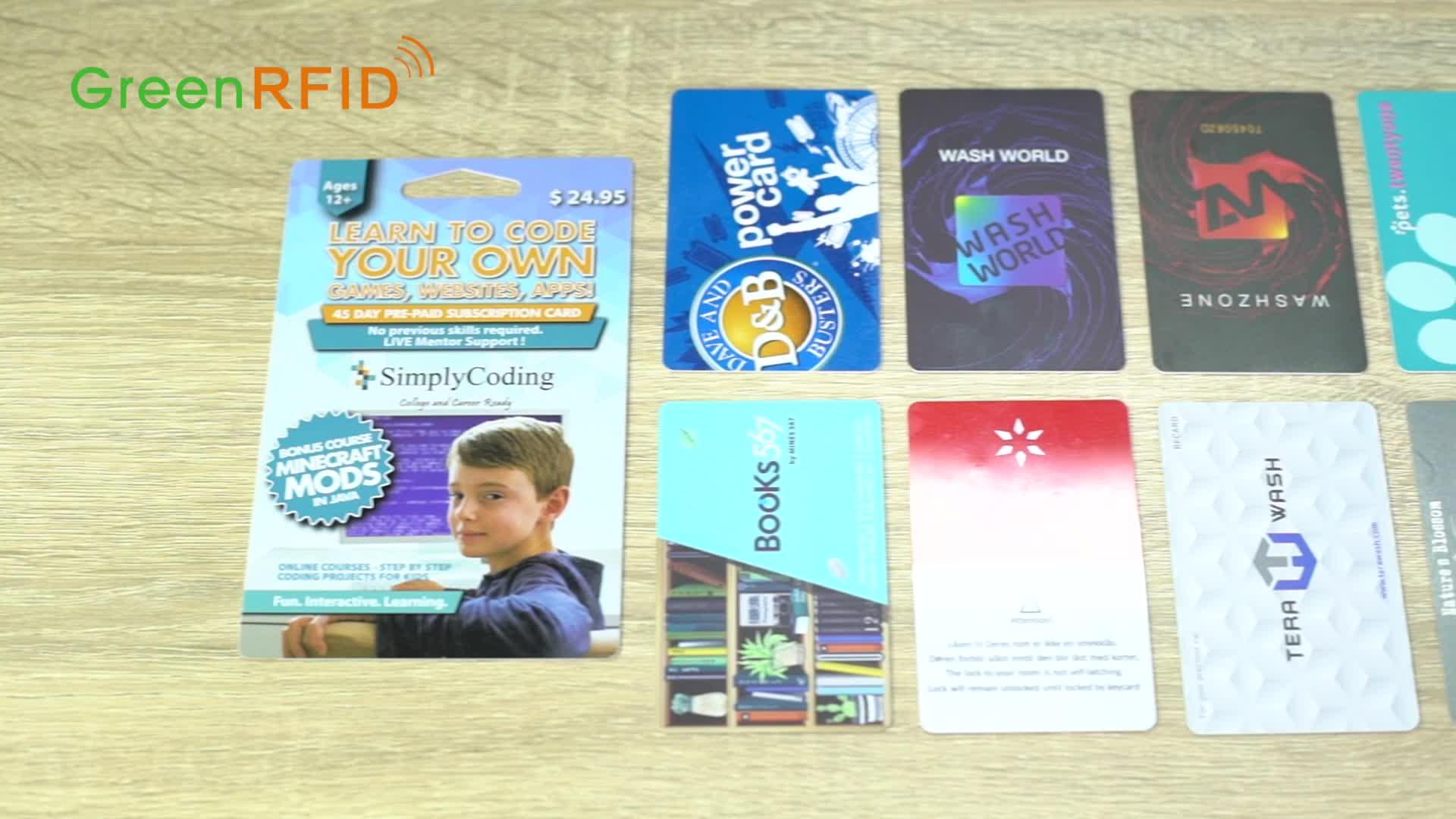 F08 1 k chip impresso pvc cartão de presente de compras