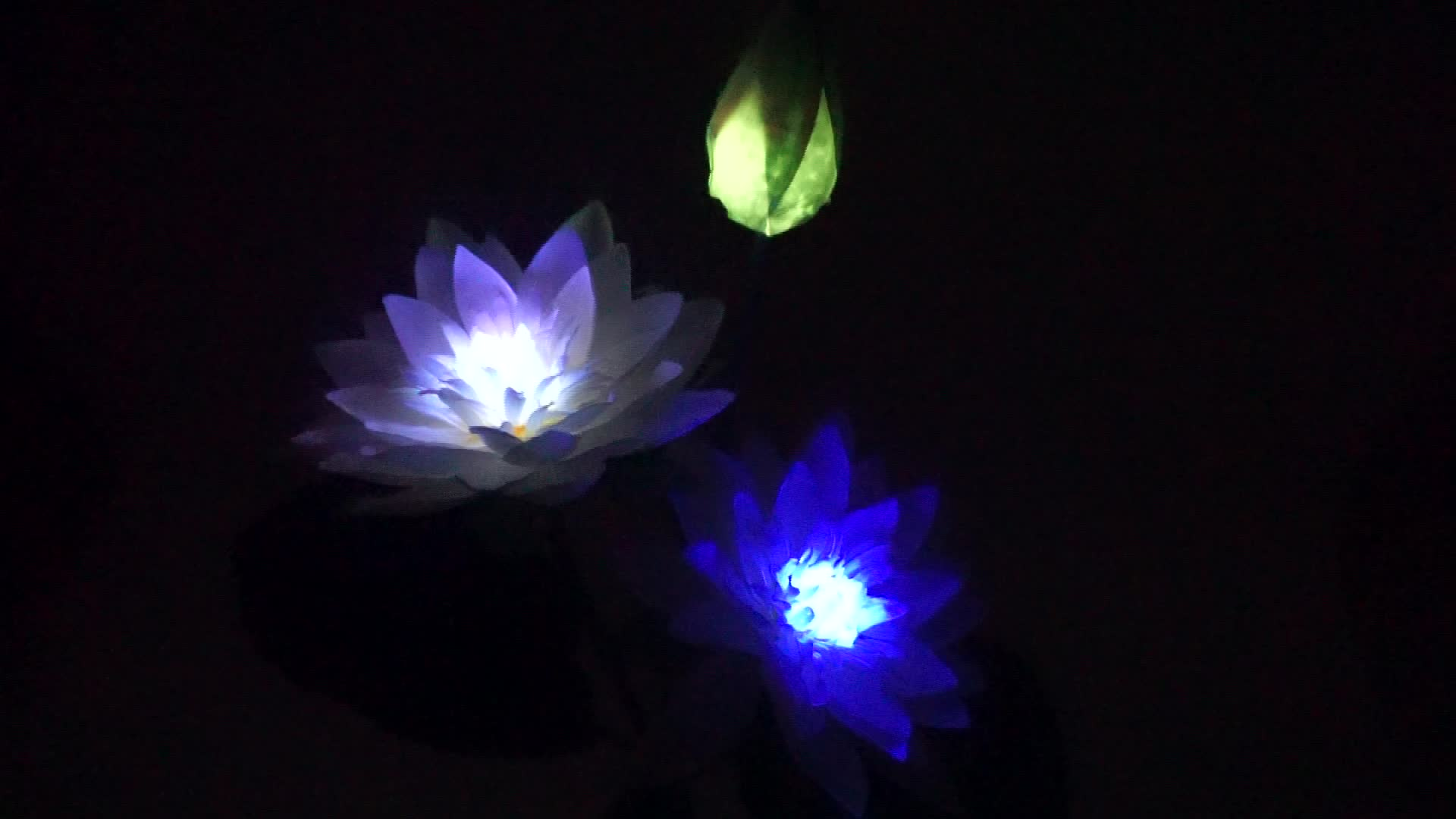 Outdoor LED Artificial Solar Flower Lights Garden Decorative Led Lawn Lamps 3 Branch Solar Lotus Light