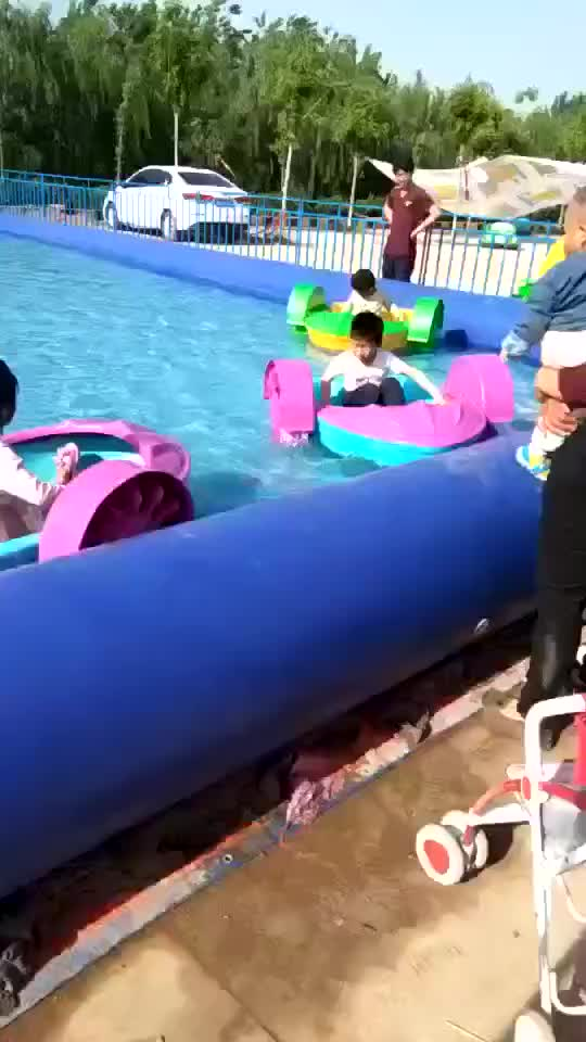 hand wheel kids paddle boat with inflatable swimming pool for sale, paddel boats with inflatable pond