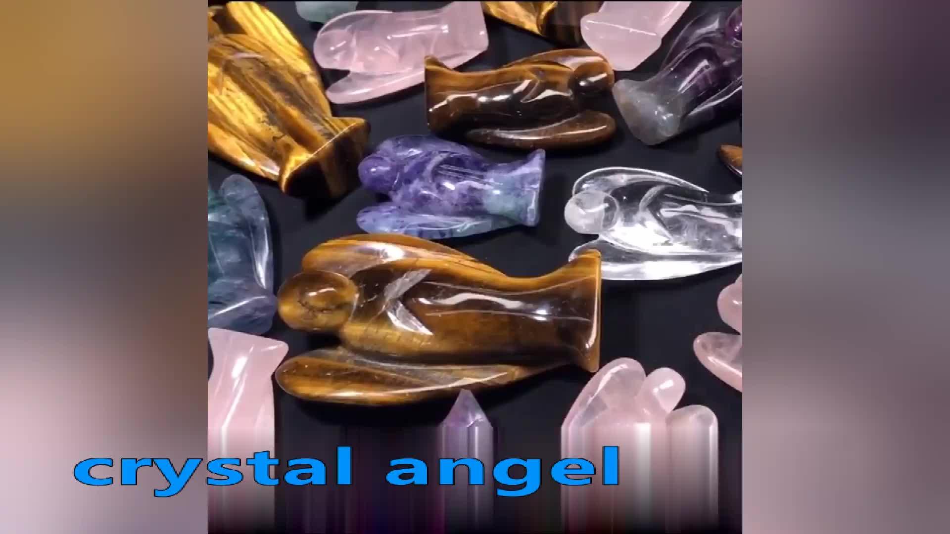2020 Natural Gemstone rose Quartz Crystal Angel Reiki Healing Figurines Carved
