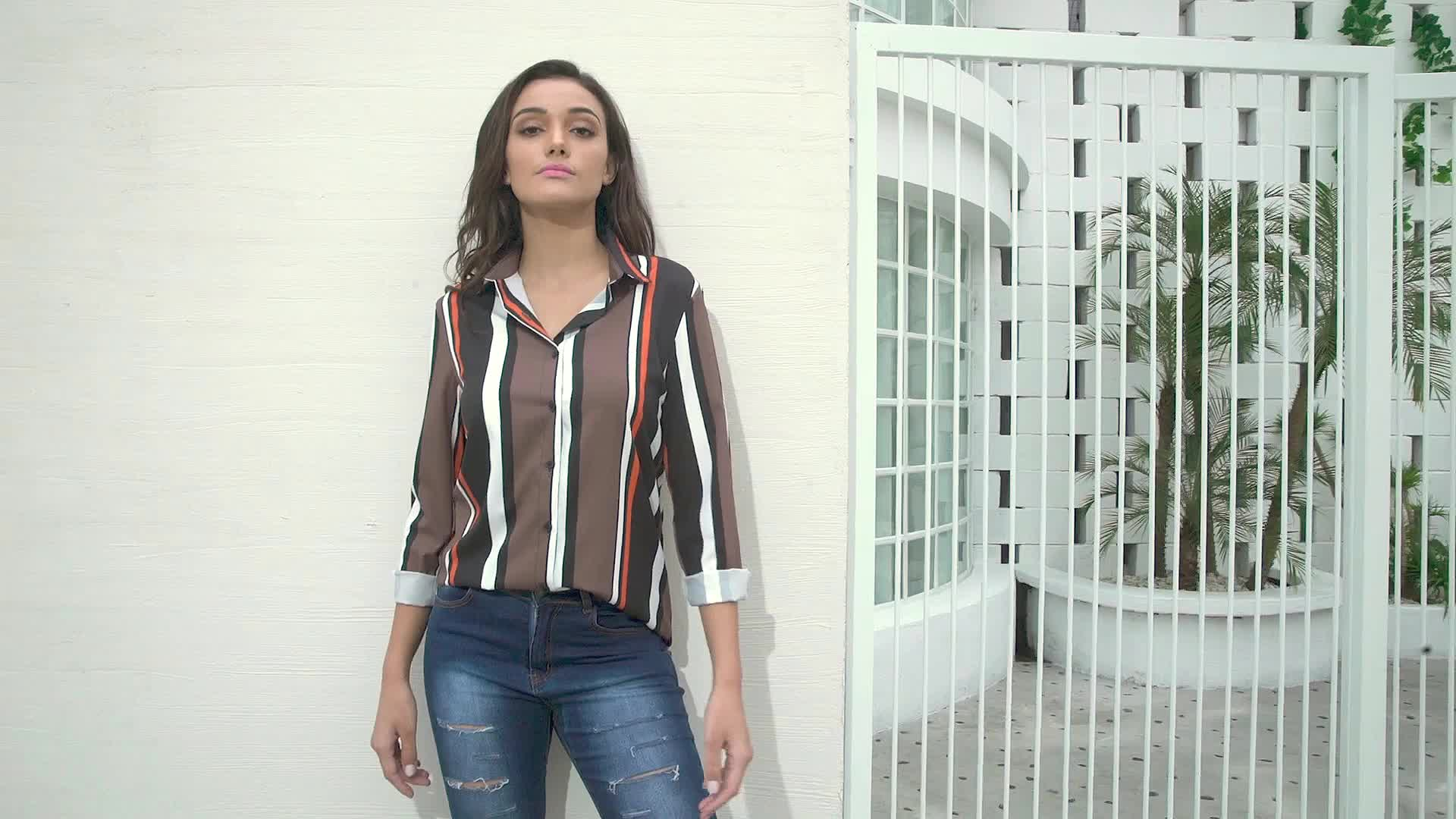 High Quality Striped Modern Blouse and Shirt for Women