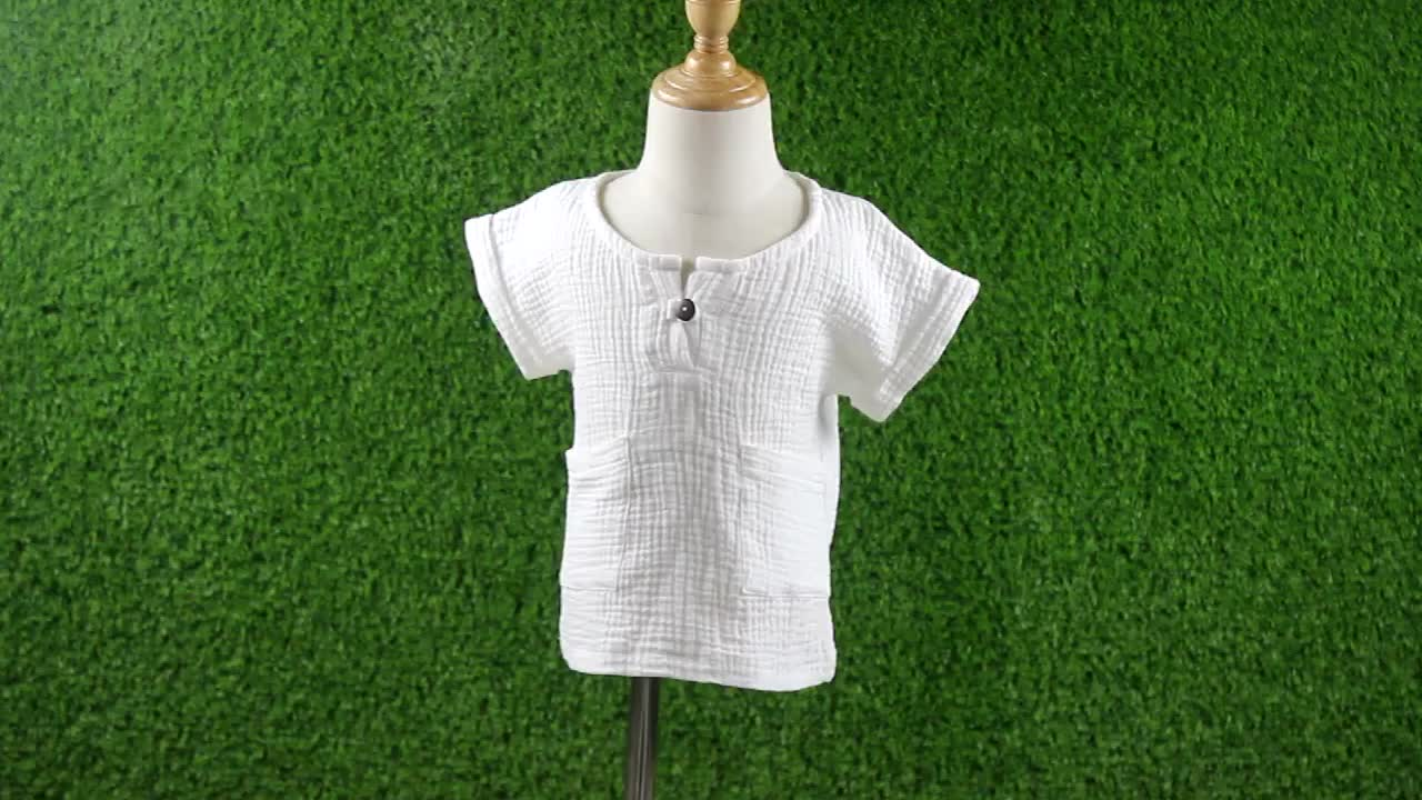 Children Clothes Kids Clothing Wholesale Muslin Cotton White Rompers For Boys Kids Blouse