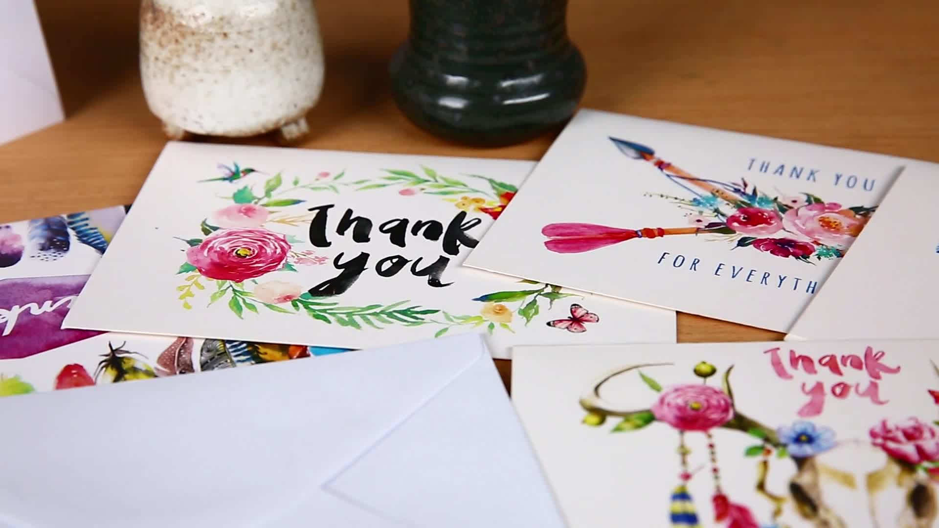 Myway 5*7 Envelope Flower Recipe Card Unfolded Assorted Boxed Pack Blank Thank You Card