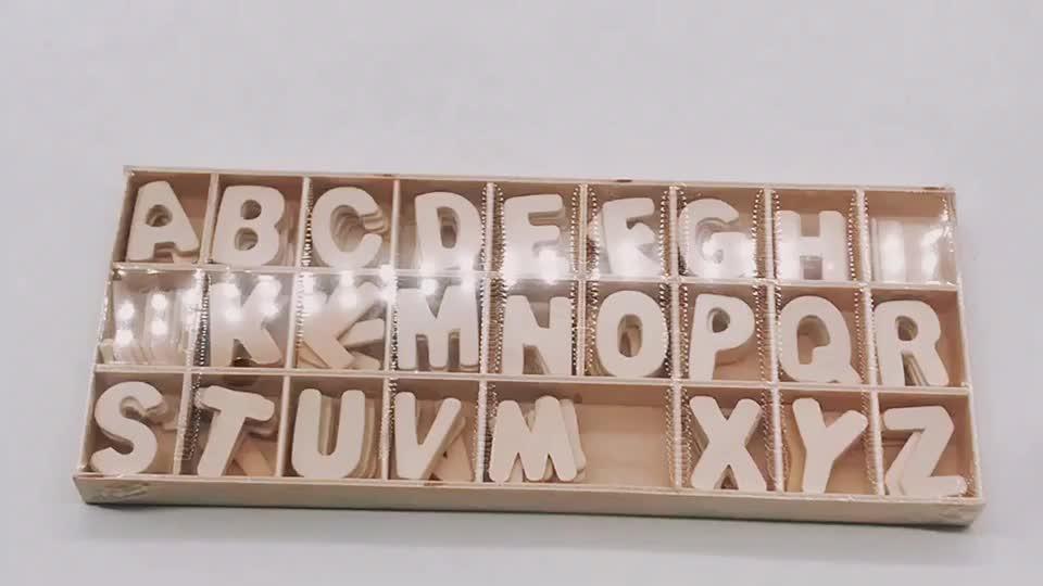 Wooden Craft Scrapbooking Alphabet Letter Set Natural 6 each A to Z 24x32mm
