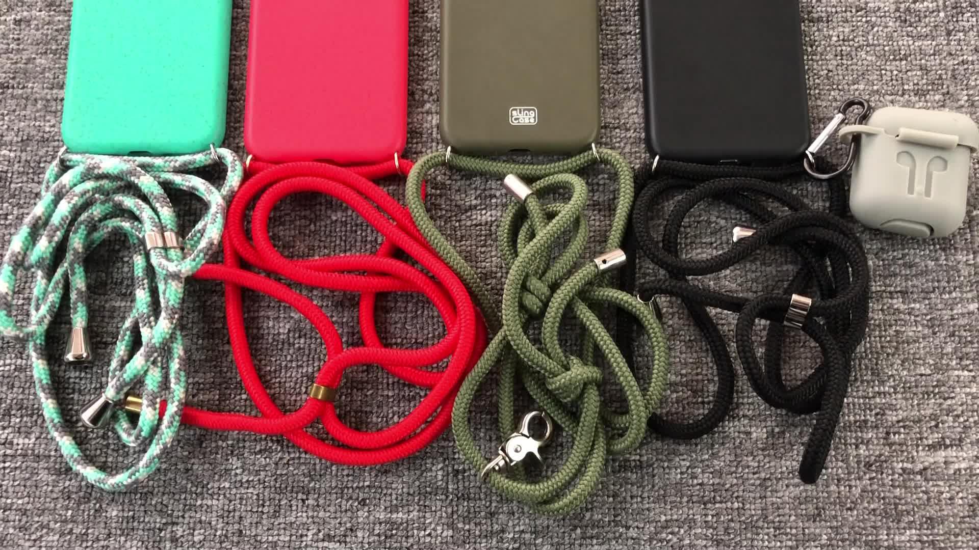 Wheat Straw Earpod Necklace Luxury Phone Case For Apple 11 Pro Max