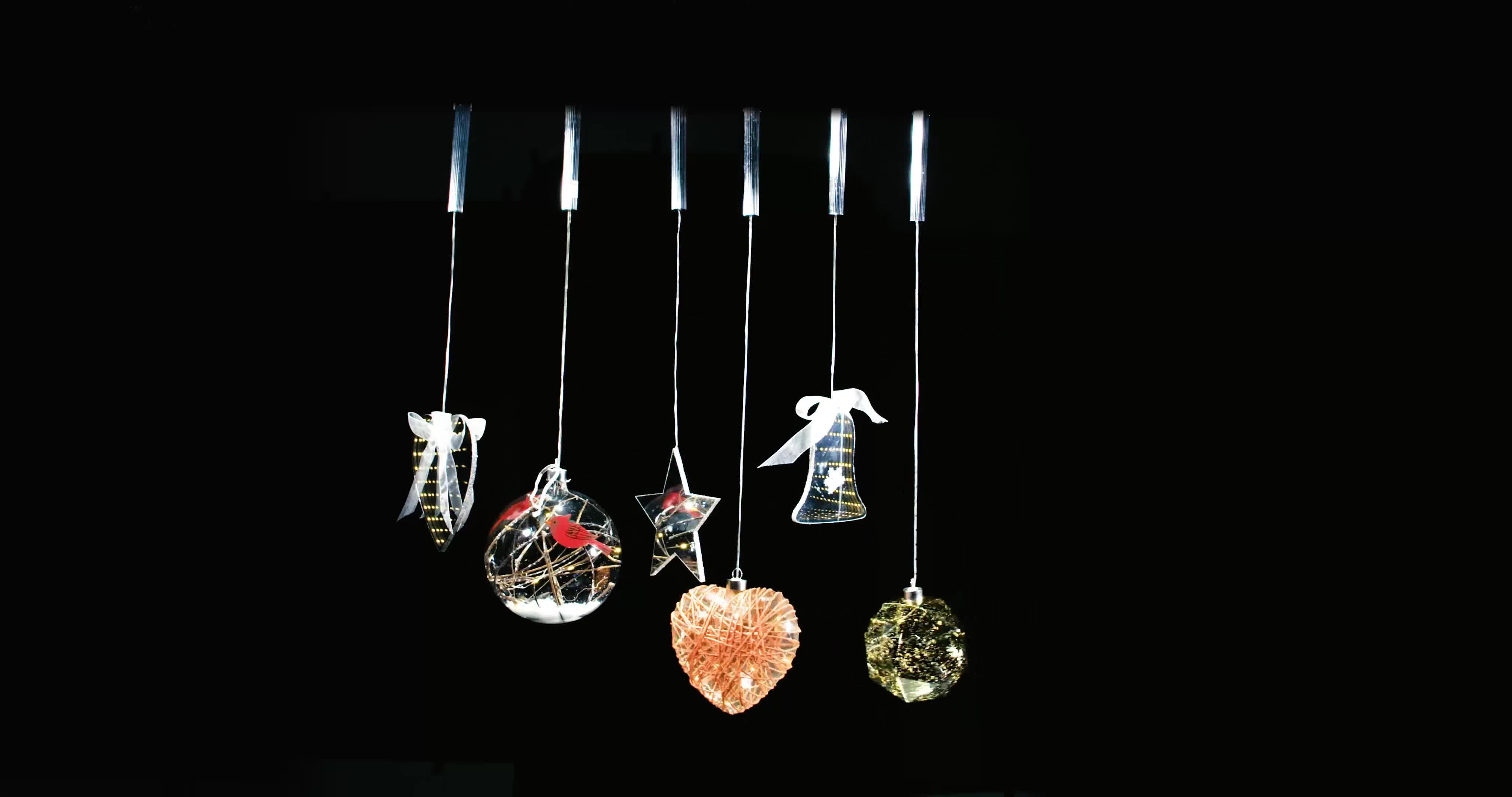 Neue Produkte 2019 Rot Klar Glas Ball Weihnachten Ornamente Mit LED Beleuchtete