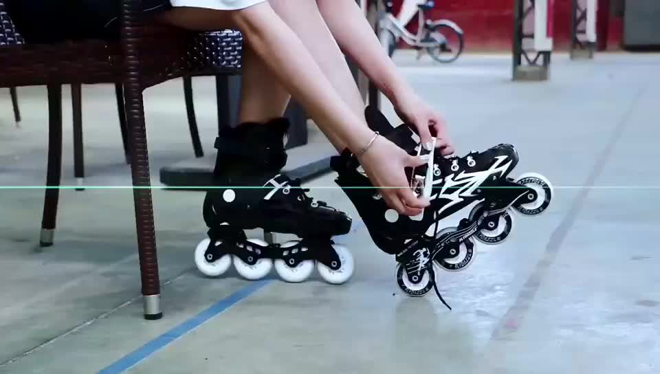 Outdoor activities adults bearing inline skate with four flashing wheels