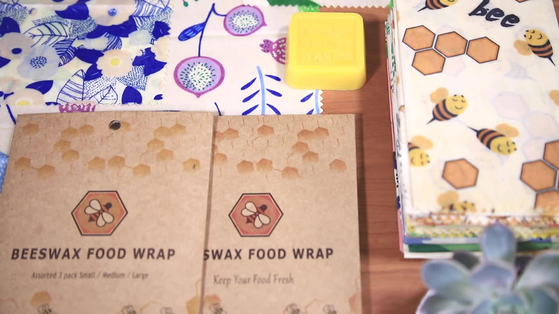 Amazon Best ขายย่อยสลายได้ Reusable ผ้าฝ้ายธรรมชาติแซนวิชขี้ผึ้งเก็บอาหาร Wraps