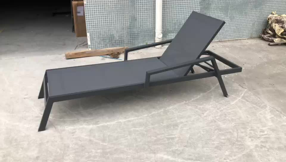 Black outdoor chaise lounge chairs sunbed hotel outdoor sun lounger