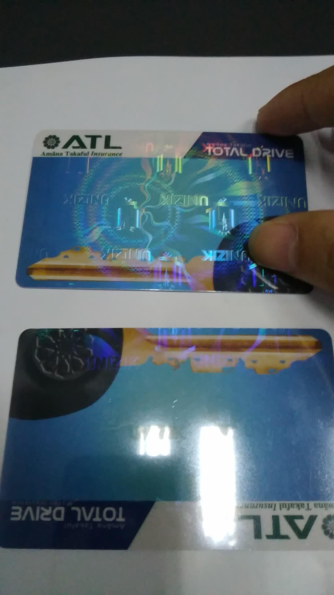De holograma de seguridad de superposición de plástico de impresión de tarjeta de identificación