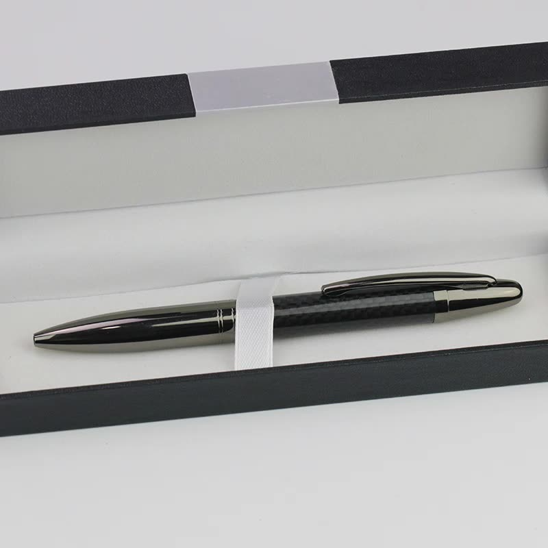 High Quality Carbon Fiber Ball Pen With Carbon Box And Laser Engraving Logo On The Metal Ball Pen