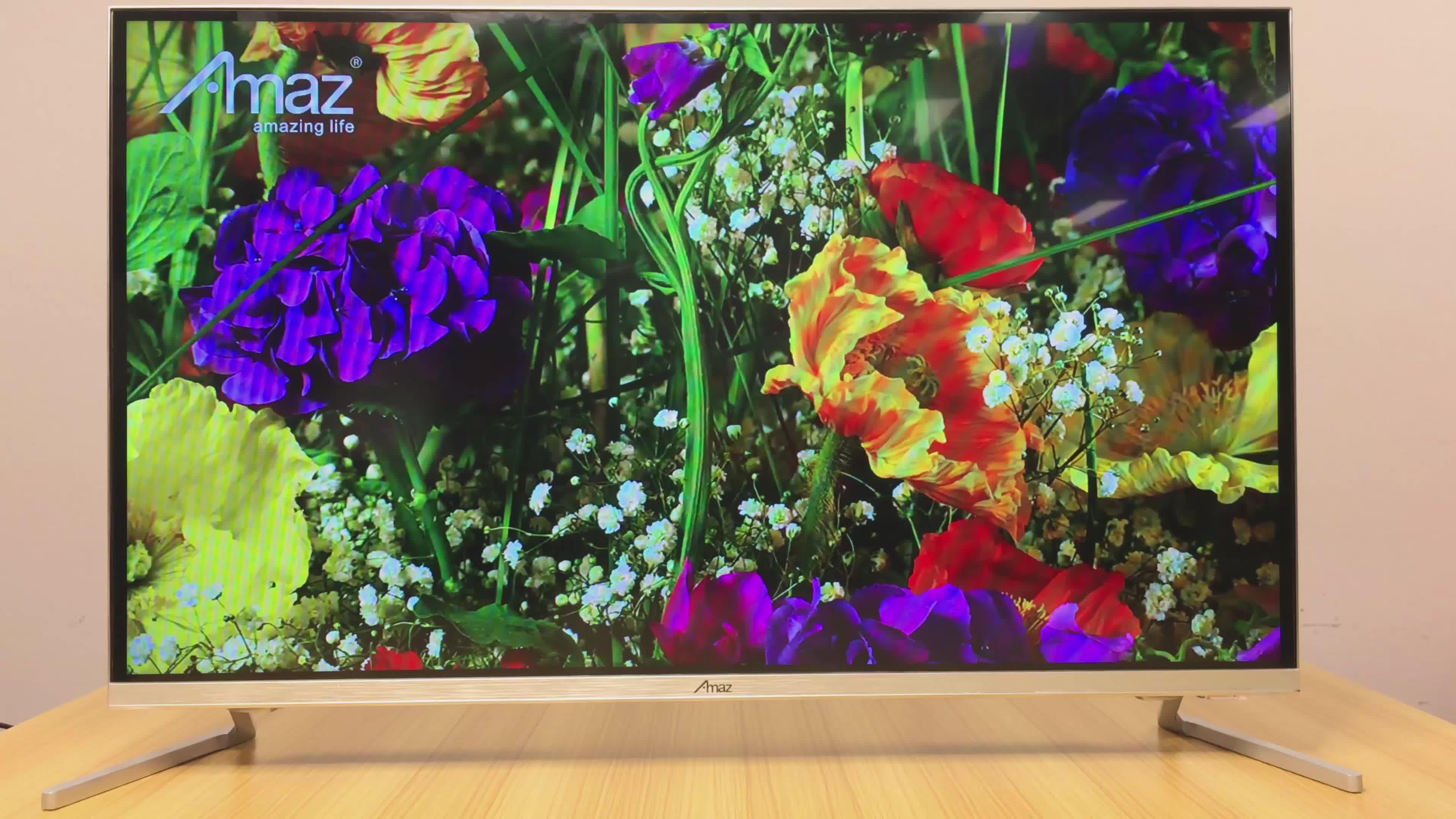 Amaz गर्म बिक्री एलसीडी 32 40 50 55 65 इंच काले 4k टीवी स्मार्ट टेलीविजन