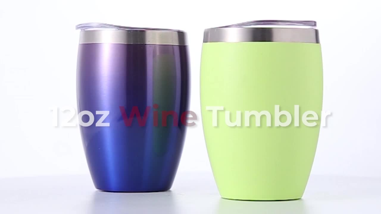 Copper Colored Double Wall Stainless Steel Vacuum Insulated 12oz Wine Tumbler With Lid