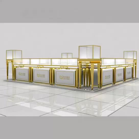 Stainless steel jewelry display counter and floor stand jewelry showcase with LED light