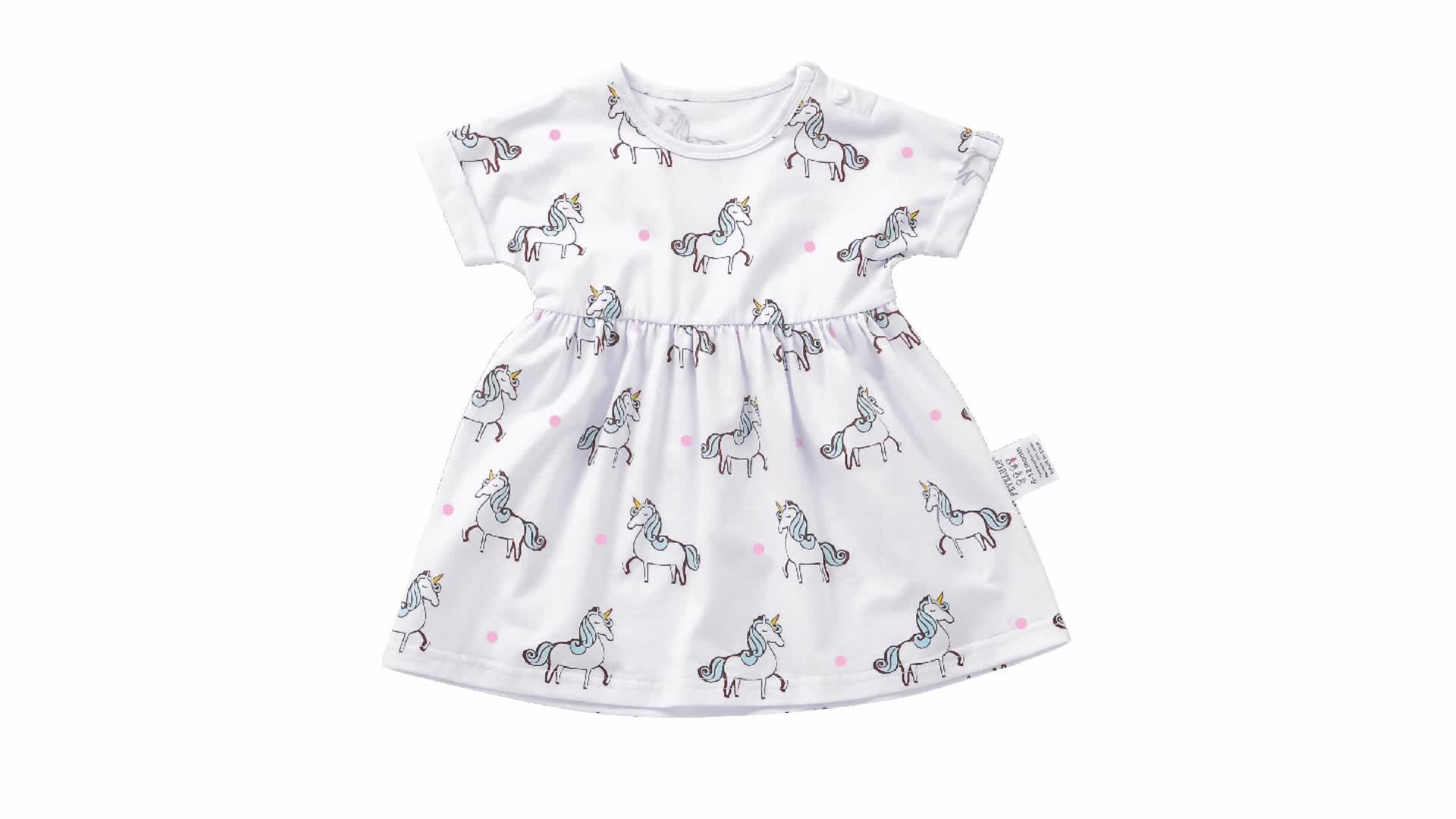 Jersey di Cotone Del Manicotto Del Blocco Pieno in Tutto Unicorn Stampa Estate Baby Girl Dress Designs