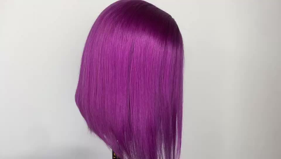Purple Loose Wave Glueless Short Human Hair Wigs Preplucked Lace Front With Baby Hair