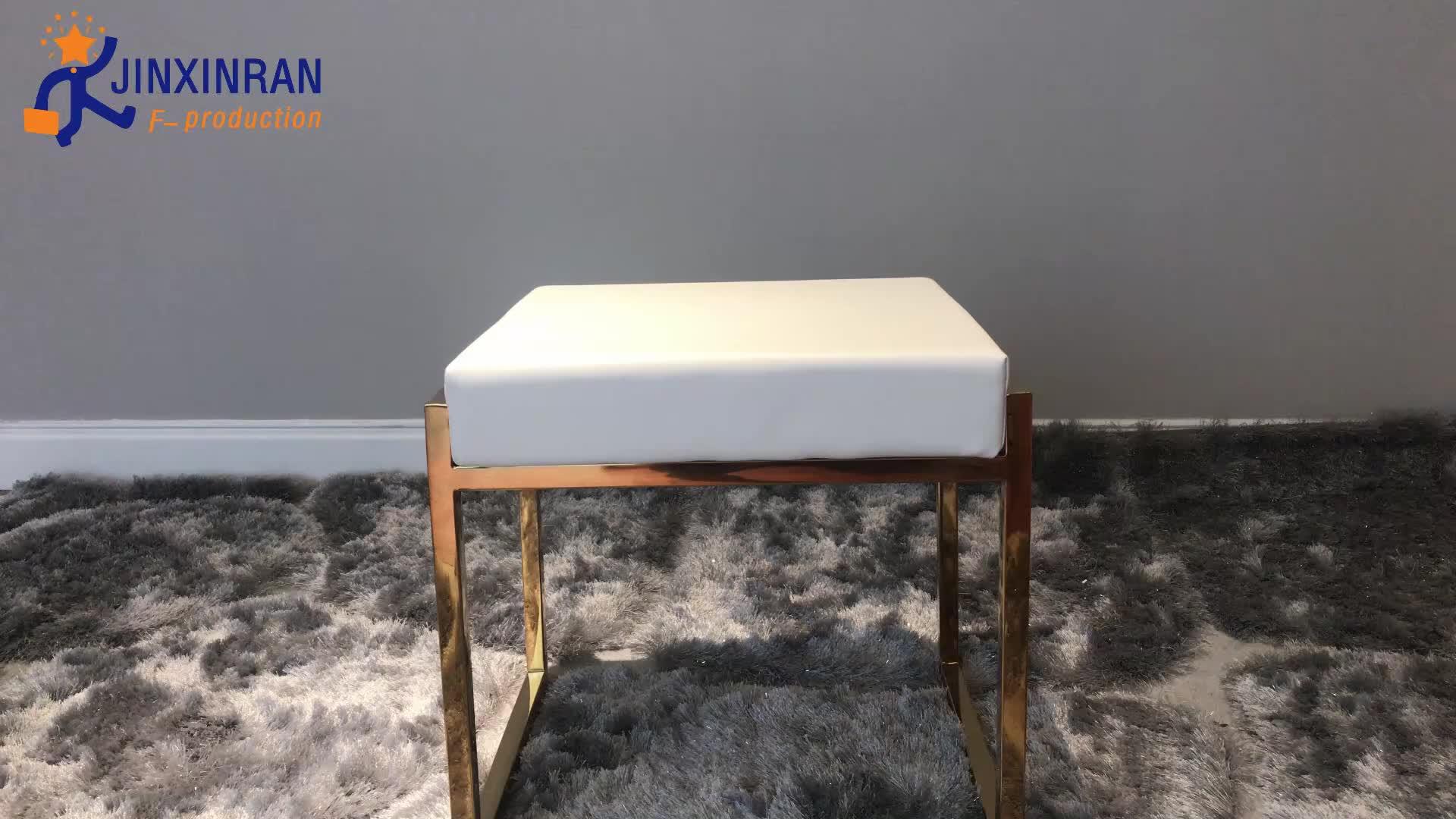 Modern high end deri ayak osmanlı tezgah tabure oturma odası için paslanmaz çelik altın metal çerçeve beyaz yastıklı ayak taburesi