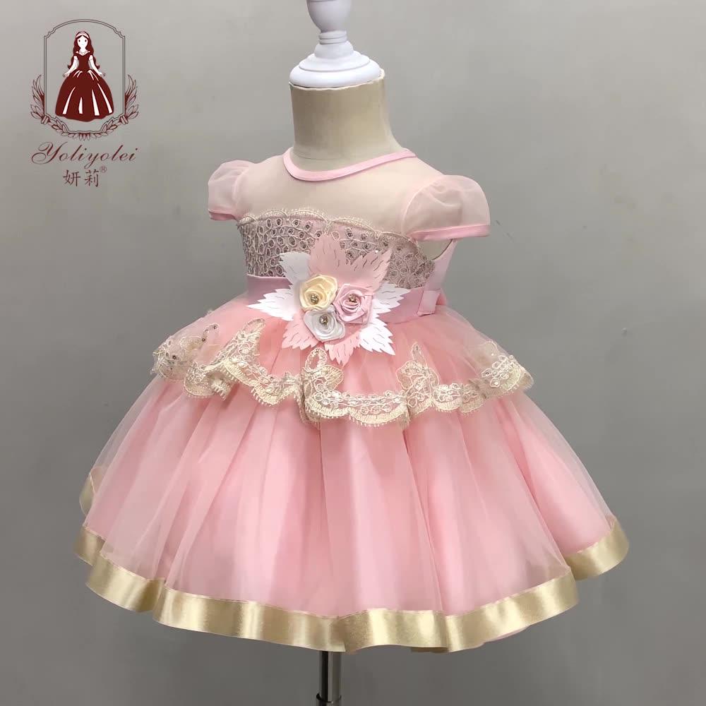 ฤดูร้อนเล็กๆน้อยๆเด็กสีชมพู Layered Dressing 1St วันเกิดทารกเด็กวัยหัดเดิน 1 ปีเด็กผู้หญิงสำหรับสาว 0 1 2 ปี