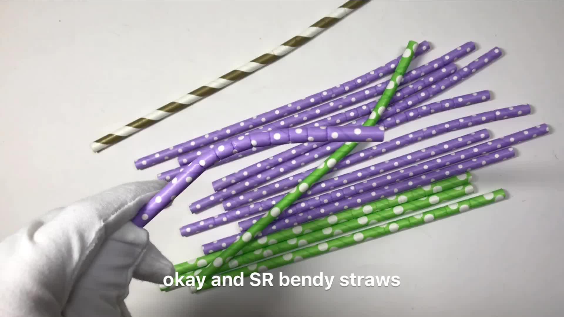 SR 10000PCS Food Grade Biodegradabile di Ben Curva Bendy Flessibile Bianco di Carta Paglia di piegatura