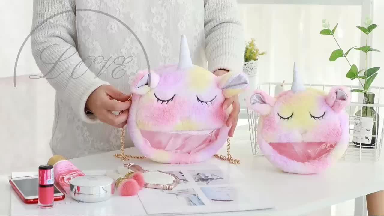2019 new plush unicorn crossbody bag chain women handbag shoulder cosmetic