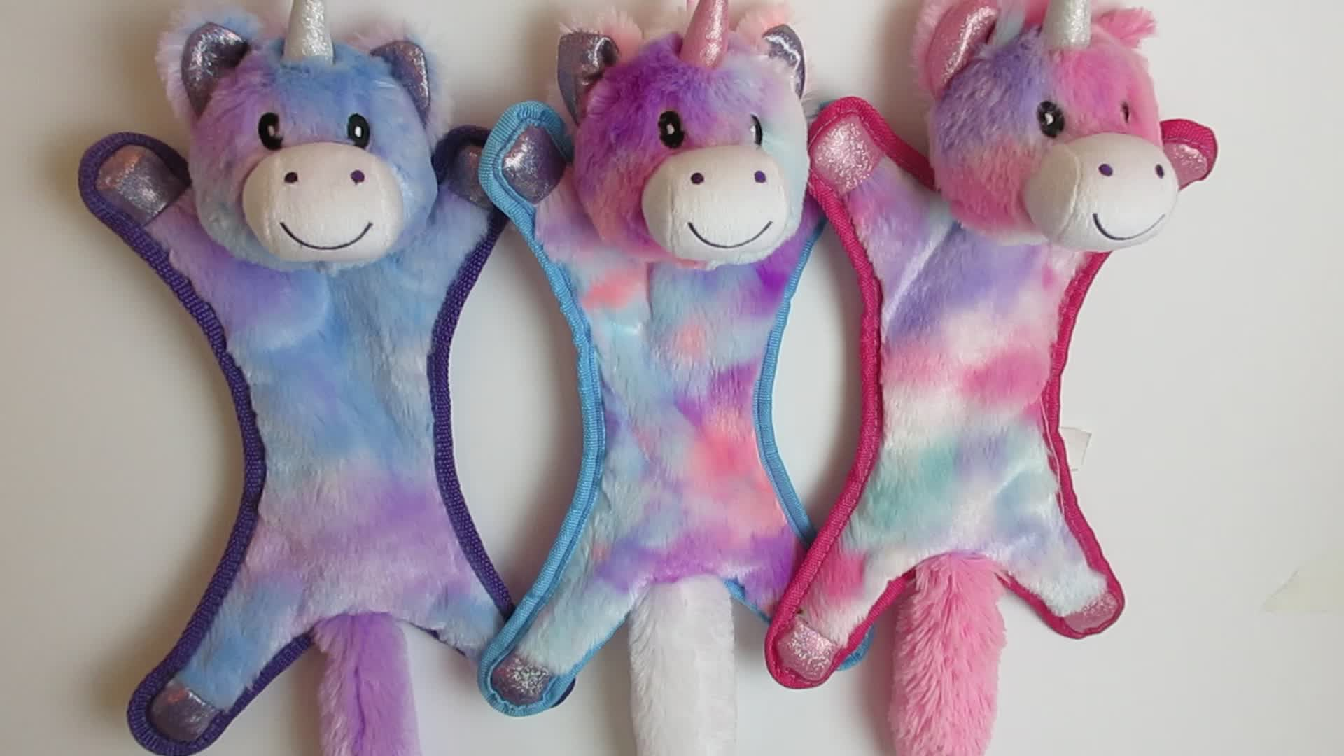Heißes verkaufendes Gewohnheit angefülltes Plüschhundespielzeug des Plüschhundes mit buntem Spielzeug der Squeaker-Einhornform für Welpenspiel und Biss