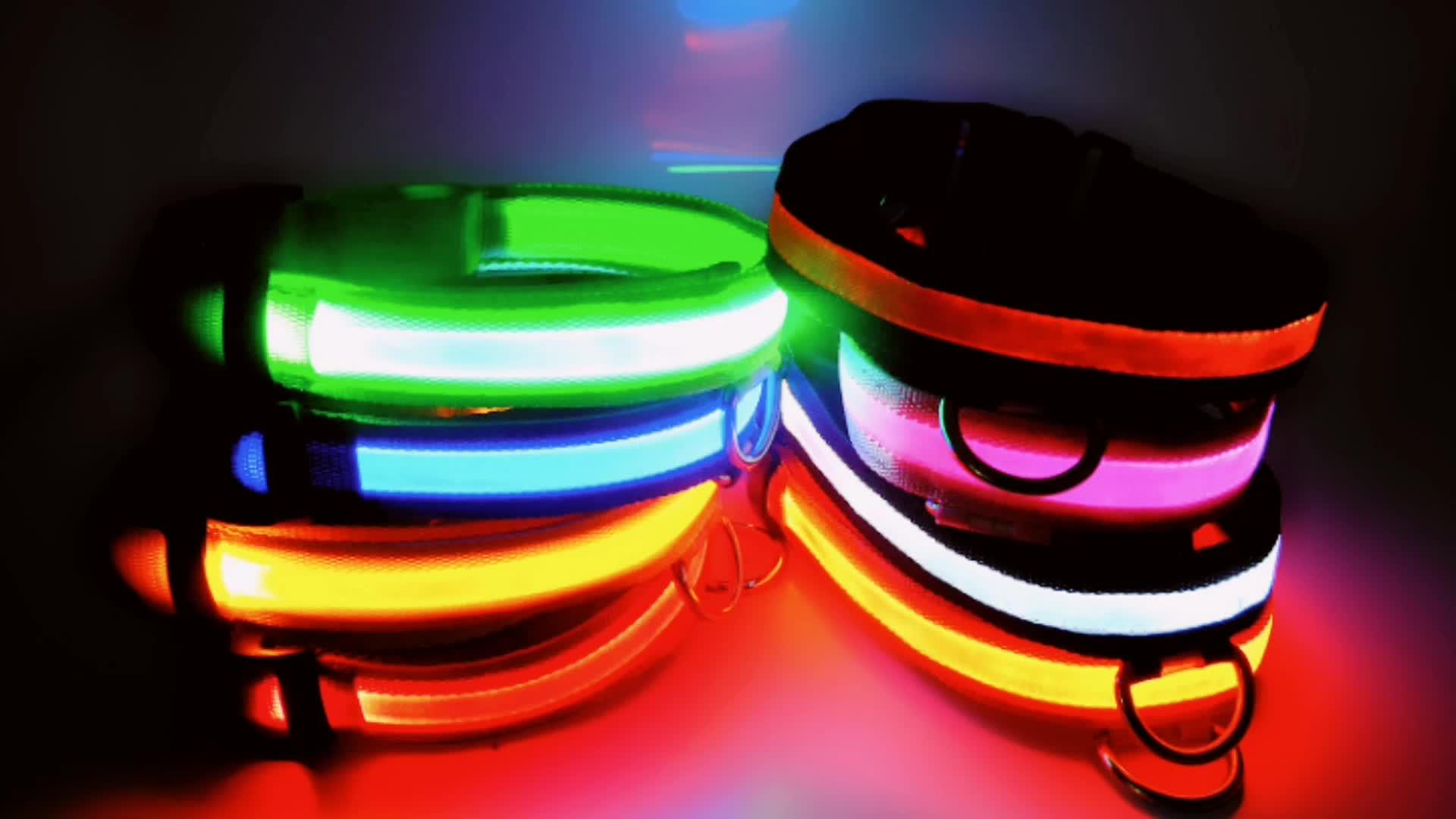 Lumières LED Chien Animaux de Compagnie Colliers Ajustable Polyester Lueur Dans La Nuit Pour Animaux De Compagnie Chien Chat Chiot Sûr Lumineux Clignotant Collier Pour Animaux De Compagnie Fournitures