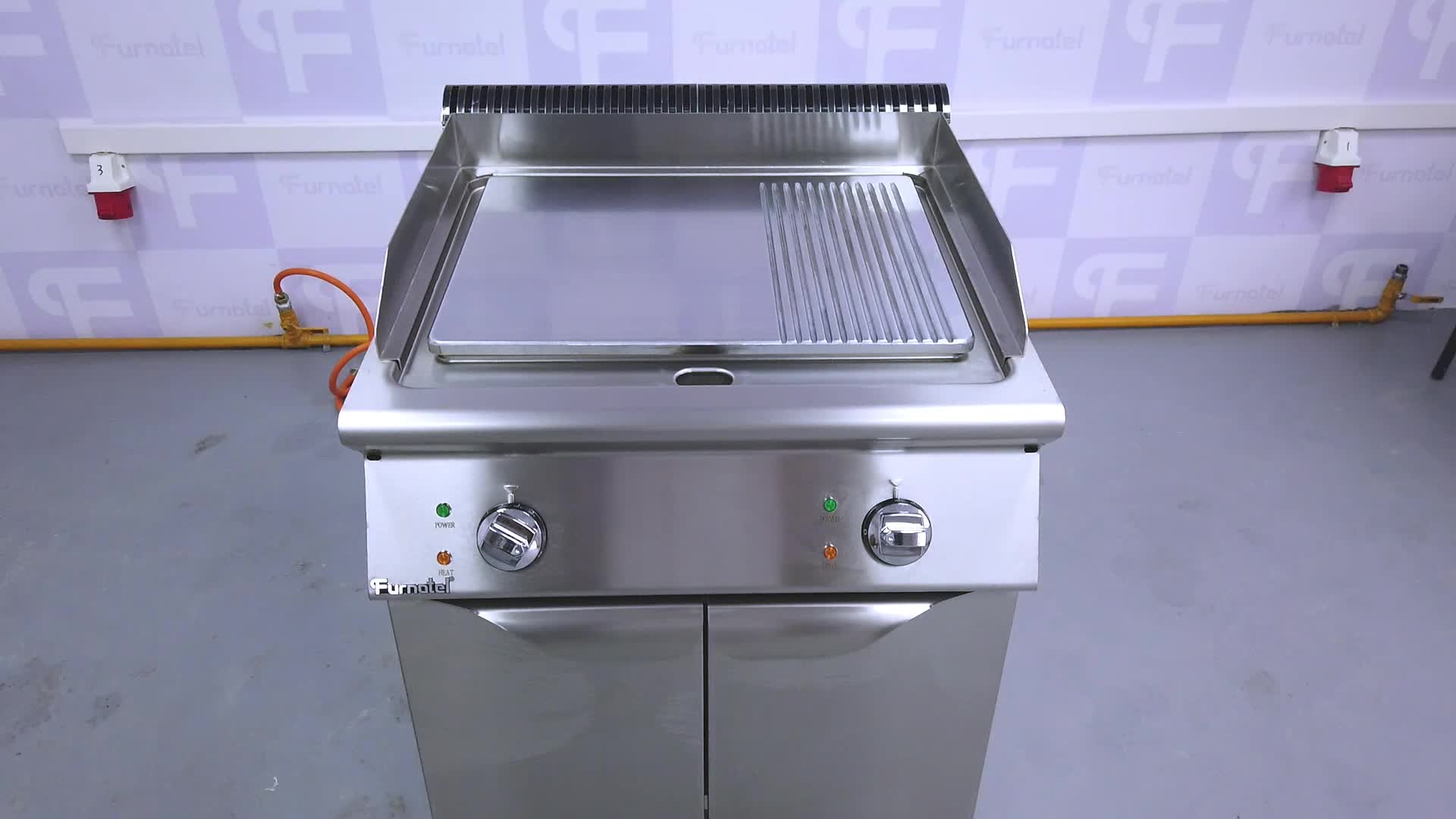 Furnotel Commercial Electric Stainless Steel Half Griddle Plate and Half Grill Machine