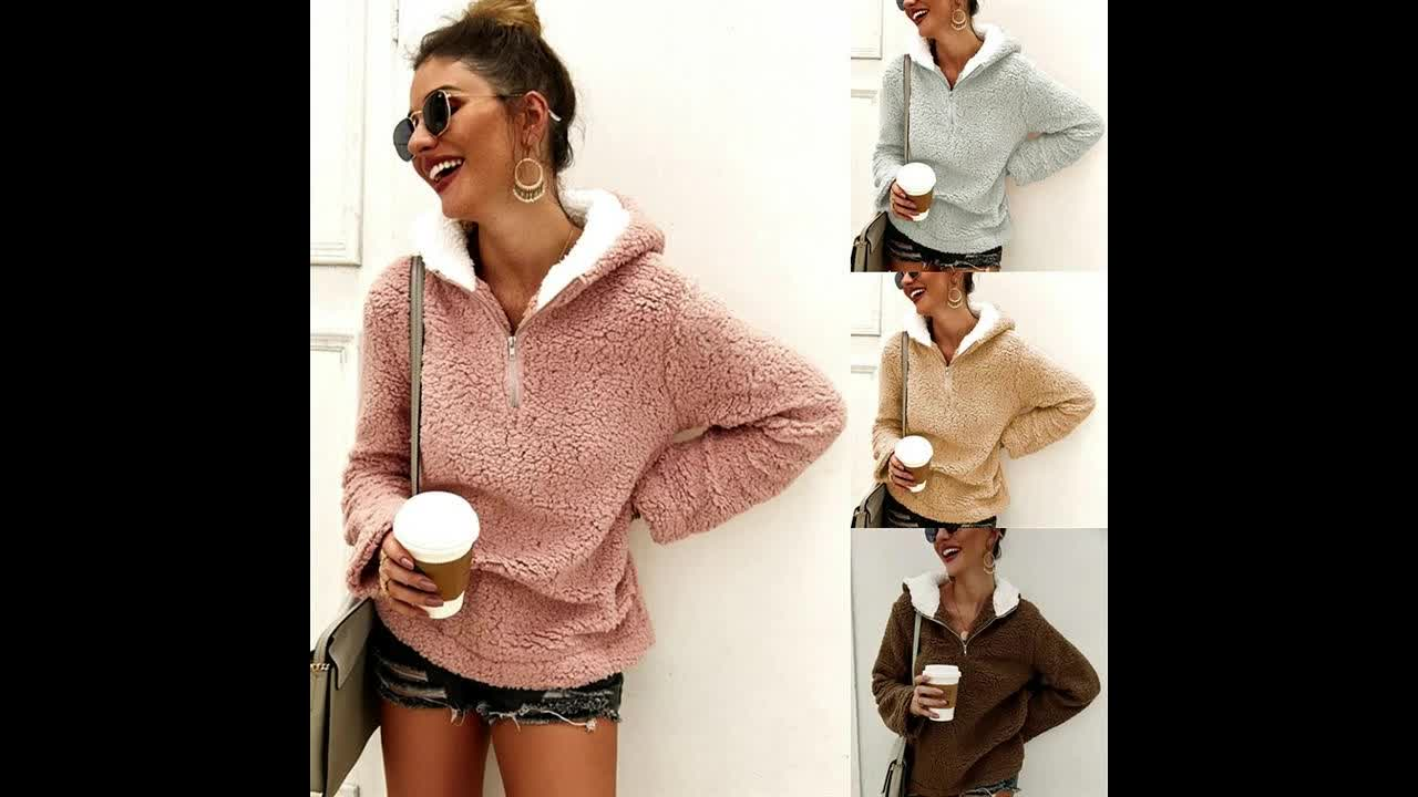 2019 Autumn Winter Long Sleeve Solid Zipper Pullover Women Coat