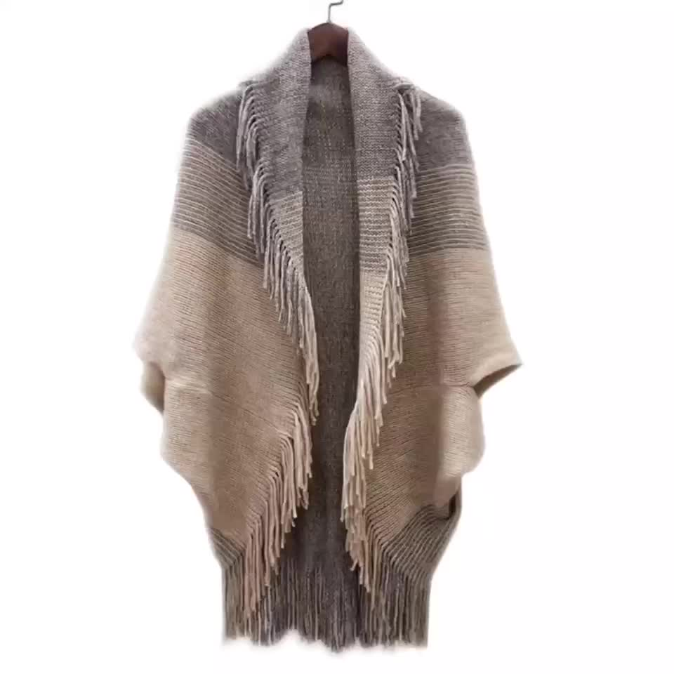 맞춤 도매 tassels 박쥐 슬리브 울 캐시미어 아크릴 포켓 터틀넥 니트 여성 판초 스웨터