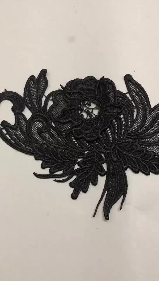 Grosir Larut Dalam Air Poliester Hitam Renda Pemangkasan untuk Gaun Dekorasi Renda