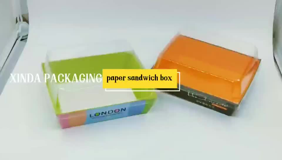 Accept custom Transparent Baked Packing Paper sandwich tray Plastic Pizza Box salad takeaway Hamburger box packaging