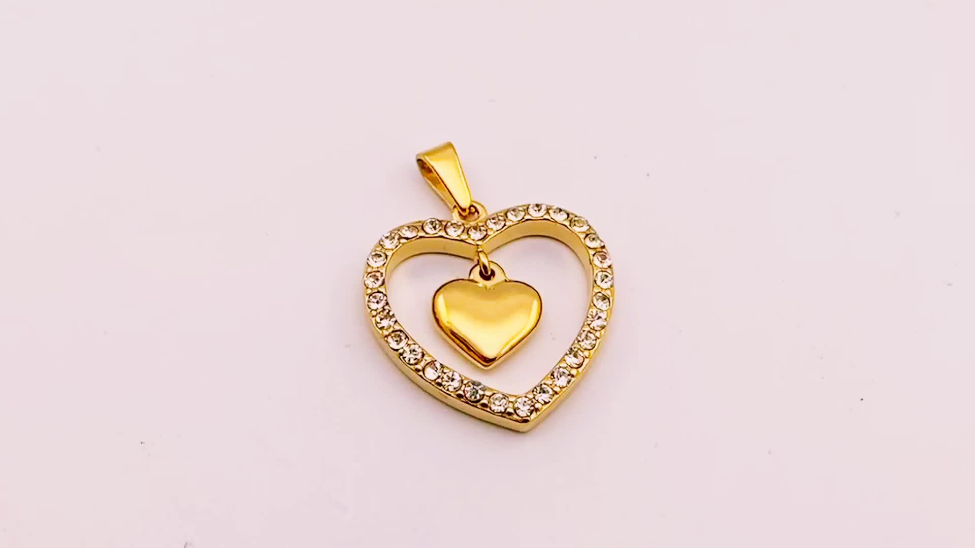 En stock nuevo diseño de corazón de diamantes de imitación collares de acero inoxidable 18k joyería de oro de moda de las mujeres doble corazón colgante, collar