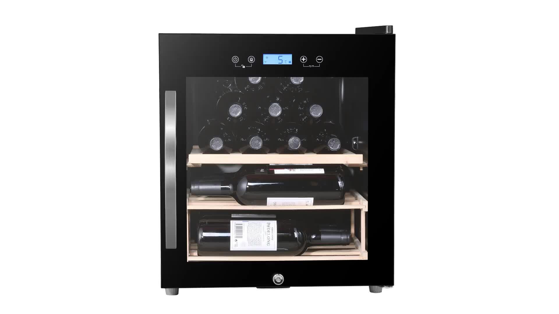 JC-50 12 bottiglie di vetro porta di raffreddamento di vino frigorifero