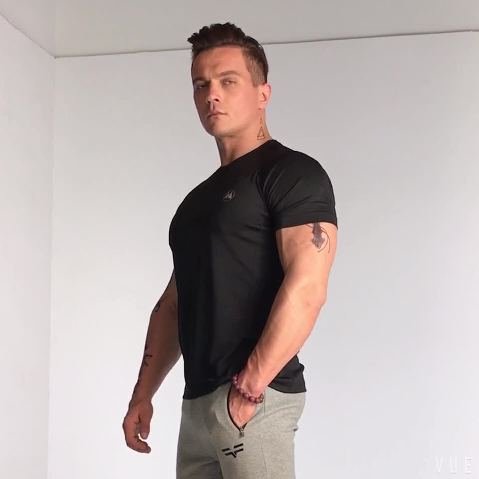 Hot Selling Muscle Fit T Shirts of 95% Cotton 5% Elastane For Mens Sports Gym Clothes