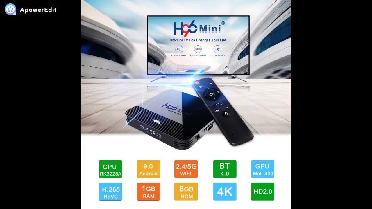 Nieuwste RK3228A Android 9.0 Media Player Tv Box Hd Mp4 Film Full Downloaden 2.4/5Ghz Wifi H96 Mini h8 2 Gb 16 Gb Ott Tv Box